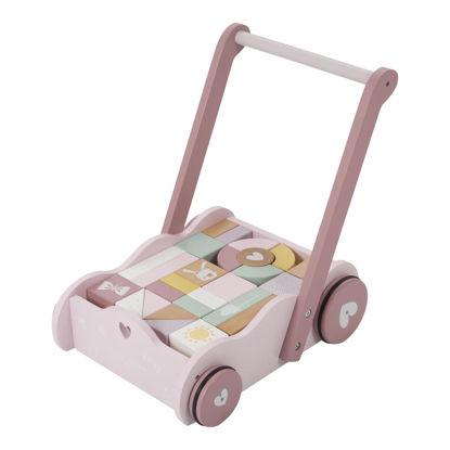 Lauflernwagen mit Bauklötzen - adventure pink