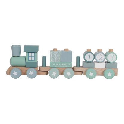 Holz-Eisenbahn mit Steck-Formen - adventure blue