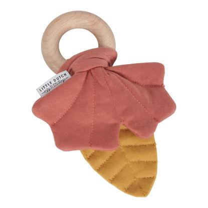 Knister-Spielzeug Blätter gelb/rosa
