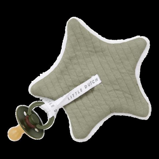 Baby Stern-Schnullertuch  - Pure Olive