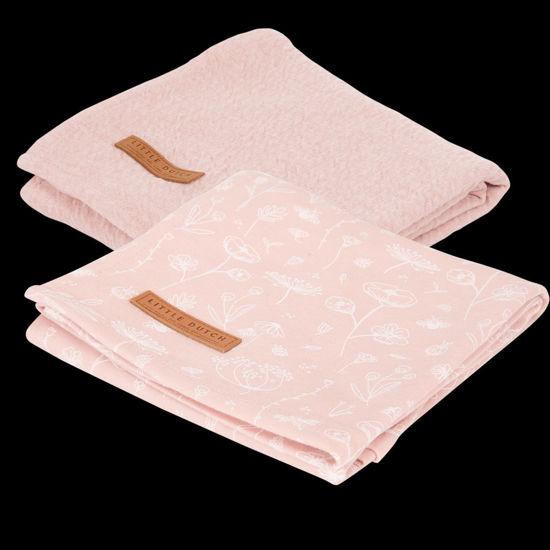 Bild von Musselintuch Swaddles 70 x 70 Wild Flowers Pink / Pure Pink